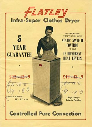Flatley clothes airer. The brochure cover from 1958 is courtesy of https://www.1900s.org.uk/flatley-brochure.htm An antique | https://www.1900s.org.uk/flatley-brochure.htm