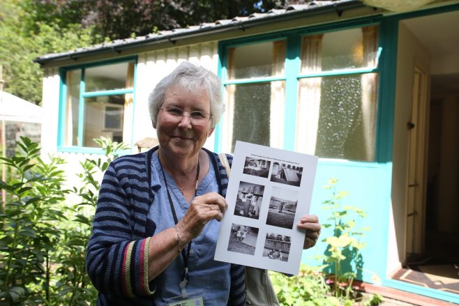 Judy, who grew up in a prefab in Eastbourne, outside the Rural Life Centre Arcon prefab | Prefab Museum