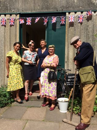 Avoncroft Museum, July 2016. Michelle, Lou, Elisabeth and costumed interpreters | Prefab Museum