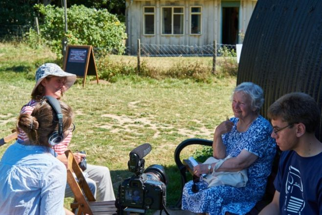 Rosemary Carden being interviewed at Chiltern Open Air Museum, August 2016 | Selim Korycki/Prefab Museum
