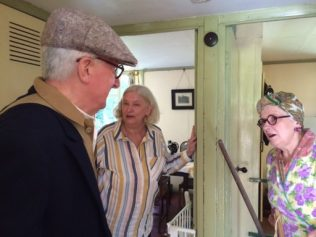 Jane and costumed interpreters in the Avoncroft Museum prefab. July 2016 | Prefab Museum