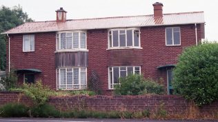 A brick clad experimental aluminium two-storey house at the Brockworth shadow factory site, only one of two built – it is now demolished. Photo: July 1987   ARG archive