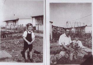 George in garden with dog, Excalibur prefab estate | Jim Blackender