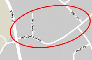 Current map Hillside Gardens, Bocking, Essex | Google Earth
