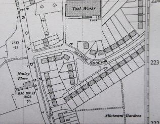 Old map of Hillside Gardens, Bocking, Essex | Crown copyright Ordnance Survey
