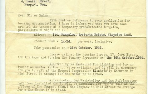 A letter of allocation of a prefab to the Page family by the County Borough of Newport 1946