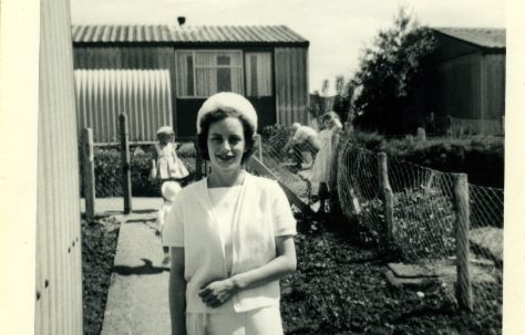 Diane, Alan Page's wife, in front of their Arcon MkV prefab