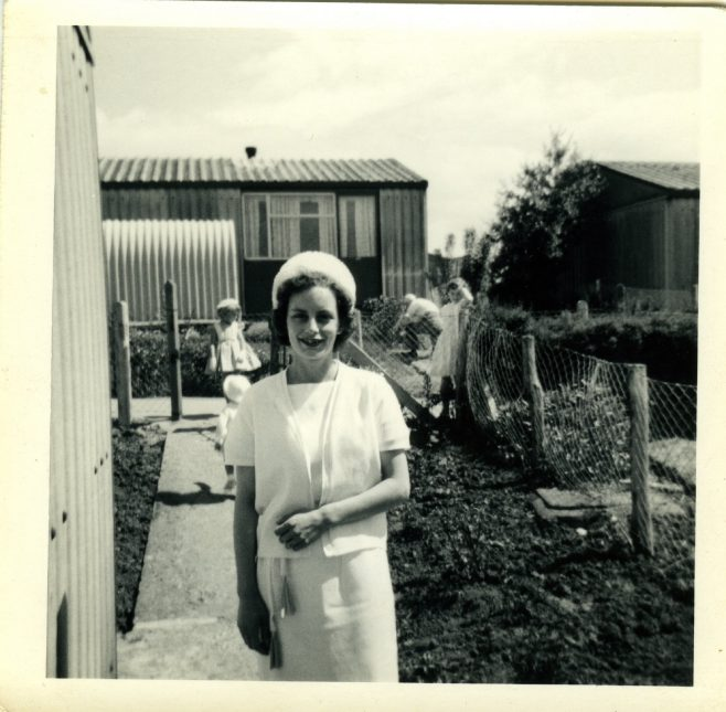 Diane, Alan Page's wife, in front of their Arcon MkV prefab | Blanchet,Elisabeth