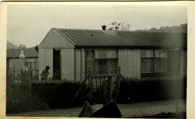 An Arcon Mk V with man in garden on the Bishpool Estate, Newport, Wales, 50s | Blanchet,Elisabeth