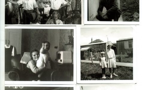 Set of 6 scanned family photos with indoors and outdoors of Arcon Mk V prefab, Treberth Estate, Newport, Wales