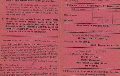 Alan Page's family Tenant's Card / Front - County Borough of Newport 1946-1947