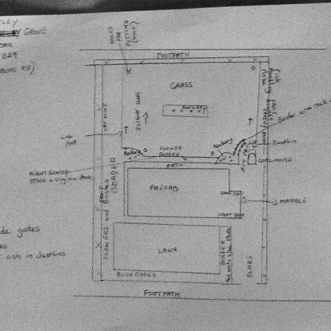 Pat Cutler and Andree Jones drawing of prefab garden