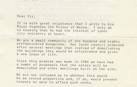 Letter from LW Rich to the Prince of Wales