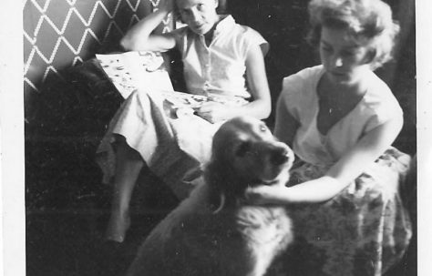 Mrs Clare and Tina Clare with Judy the dog.