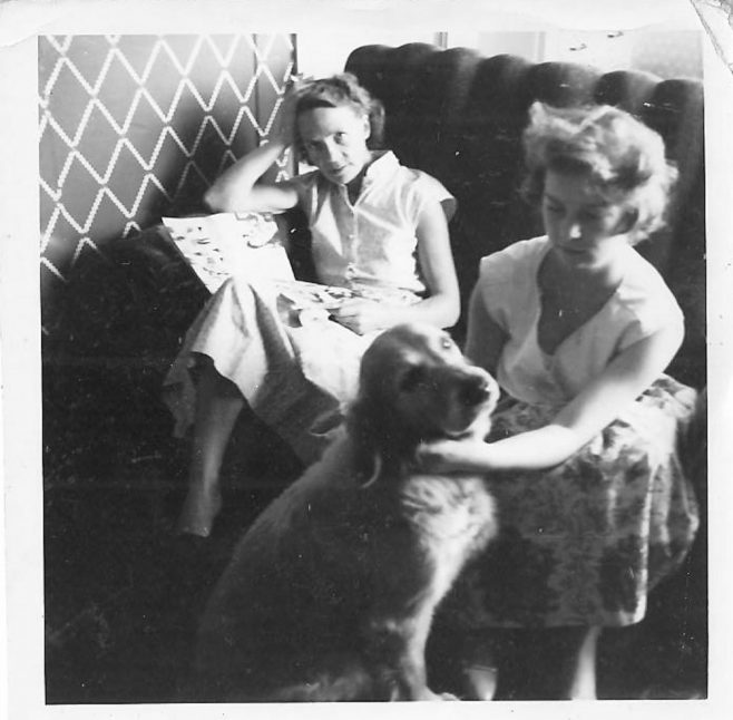 Mrs Clare and Tina Clare with Judy the dog. | Hearn,Jane