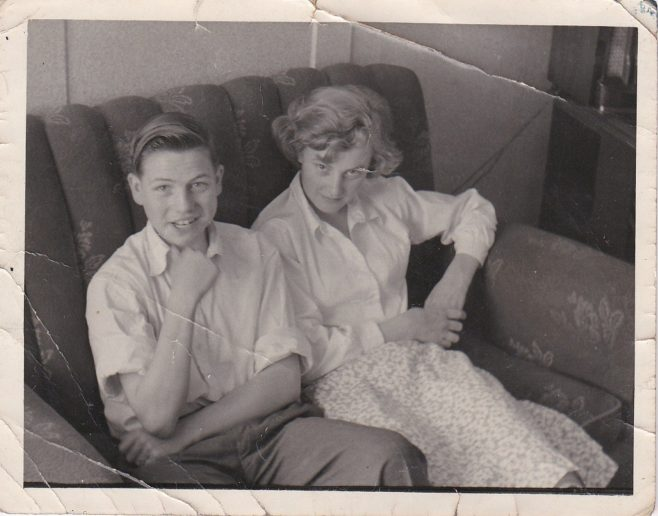 Barry and Tina Clare on the sofa in their prefab | Hearn,Jane