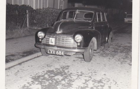 The Clare family's Morris Minor car on Meliot Road, SE6, at night