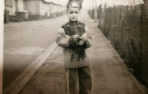Small boy in Native American fancy dress, Lower Jackwood Close, Eltham
