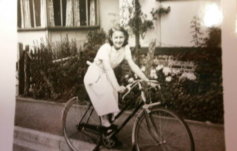 Eileen's sister Pat on her new bike in front of the prefab, Lower Jackwood Close, Eltham