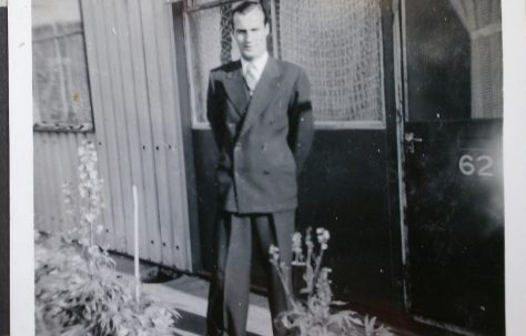 Eileen's dad Daniel Jolin, known as Joe, in front of Arcon prefab