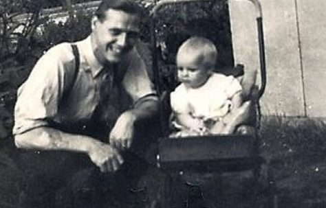 Uncle George Brine with Alan in the garden of 3 Meliot Road, SE6