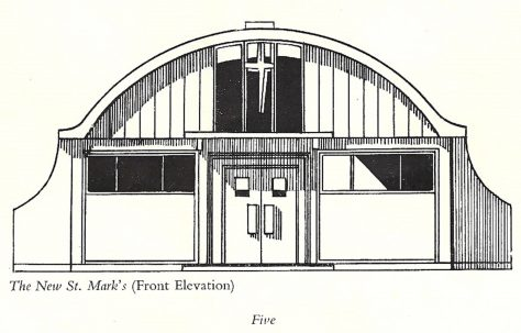 "Drawing of St Mark's Church, the ""Prefab Church"""