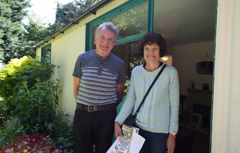 Allen and Judith Sawkins in front of the Arcon Mk V prefab at the Rural Life Centre, July 2016
