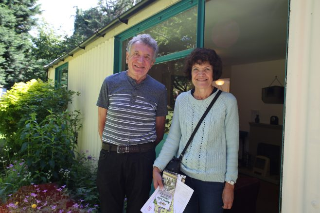 Allen and Judith Sawkins in front of the Arcon Mk V prefab at the Rural Life Centre, July 2016 | Prefab Museum
