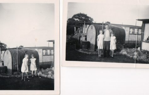 Sisters Andree Jones and Pat Cutler in their UK100 prefab's garden, Birmingham, 50s