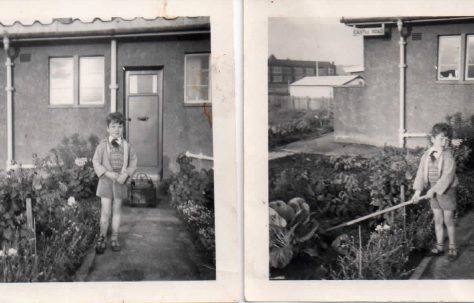 Lord West of Spithead as a child in front of his family prefab, Rosyth, Scotland, 1954