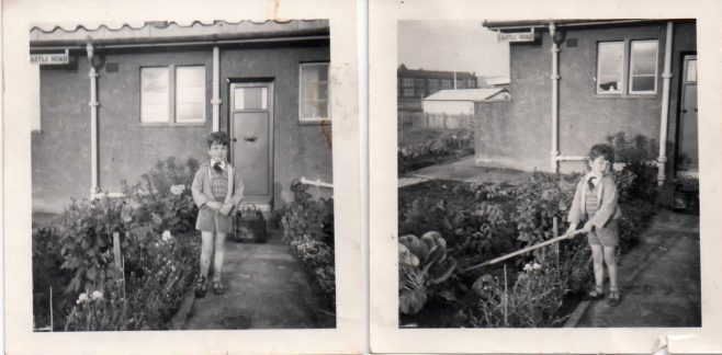 Lord West of Spithead as a child in front of his family prefab, Rosyth, Scotland, 1954 | Blanchet,Elisabeth