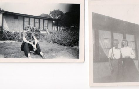 Mother and father of Andree Jones and Pat Cutler in their UK 100 prefab's garden, Birmingham, 50s