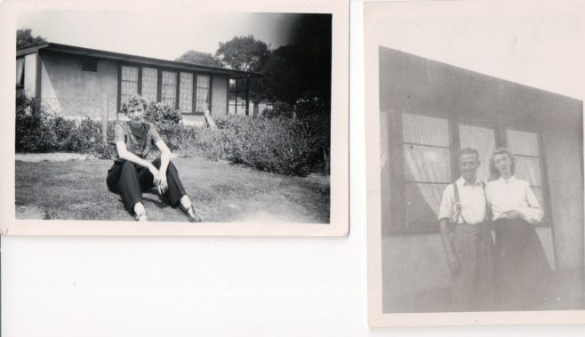 Mother and father of Andree Jones and Pat Cutler in their UK 100 prefab's garden, Birmingham, 50s | Hearn,Jane