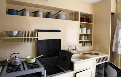 Kitchen of an AIROH prefab, St Fagans National Museum
