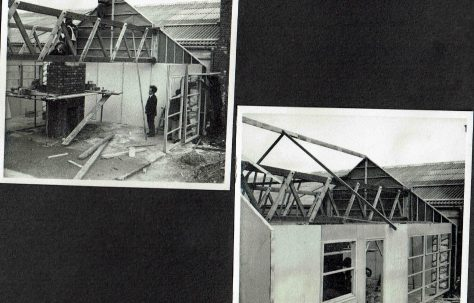 Personal photograph album of a prefabricated timber framed bungalow under construction