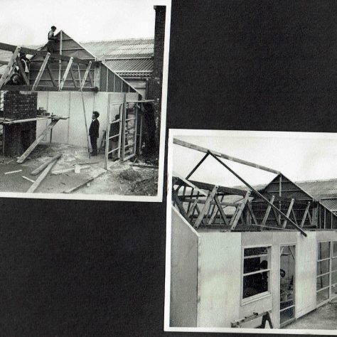 Personal photograph album of a prefabricated timber framed bungalow under construction   Hearn, Jane