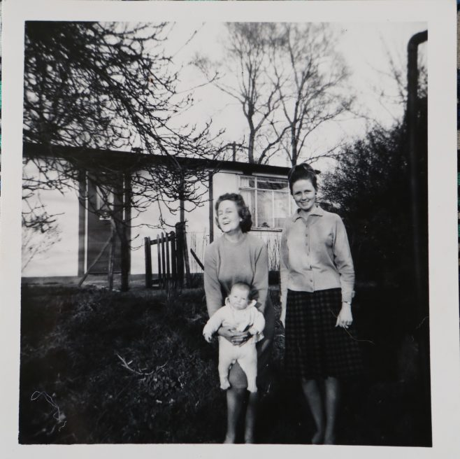 Penny Bishop and family outside their prefab in Willesden | Hearn, Jane