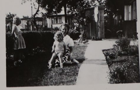 Penny Bishop, her mum and sister in their prefab garden in Willesden