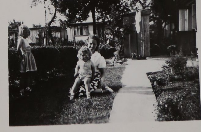Penny Bishop, her mum and sister in their prefab garden in Willesden | Hearn, Jane