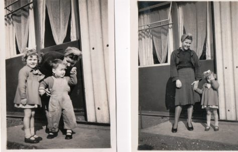 Two photos of Kathryn, her mother Connie and brother Neal outside their prefab