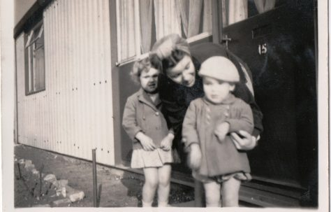 Kathryn with her mum Connie and brother Neal outside their prefab in St Pauls Cray