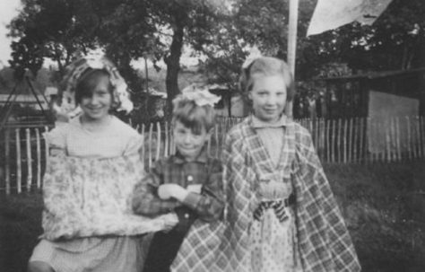 Three children in fancy dress, Shrublands Estate, New Addington