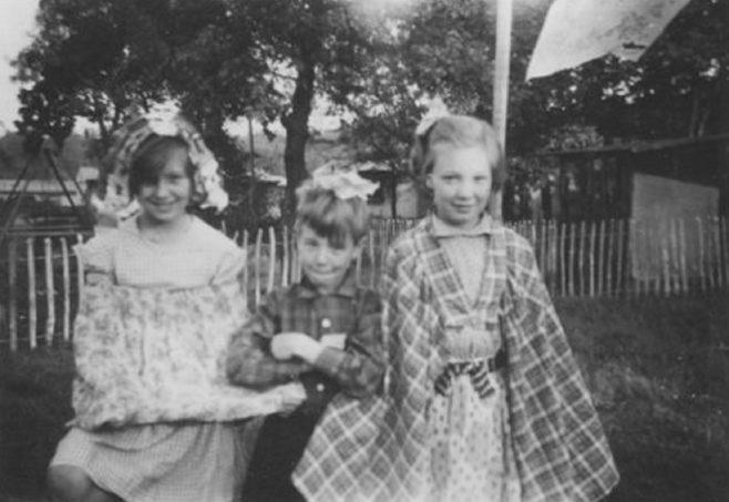 Three children in fancy dress, Shrublands Estate, New Addington