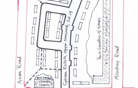 Map of the Sylvan Estate, Norwood, Maberley Road, London SE19