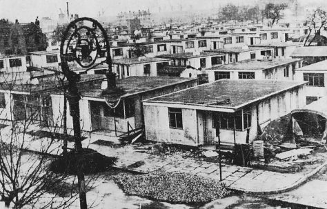 Elevated view of prefabs, Isle of Dogs E14