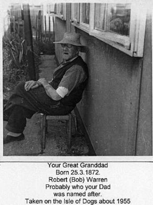 Granddad Warren. Stewart Street, London E14
