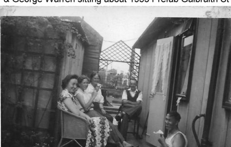 Betty Barry, Joyce Barry, Daisy Warren, Tom Daykin and George Warren sitting about 1955. Galbraith Street, London E14