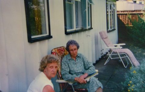 Two women in back garden  of 401 Wake Green Road, Moseley