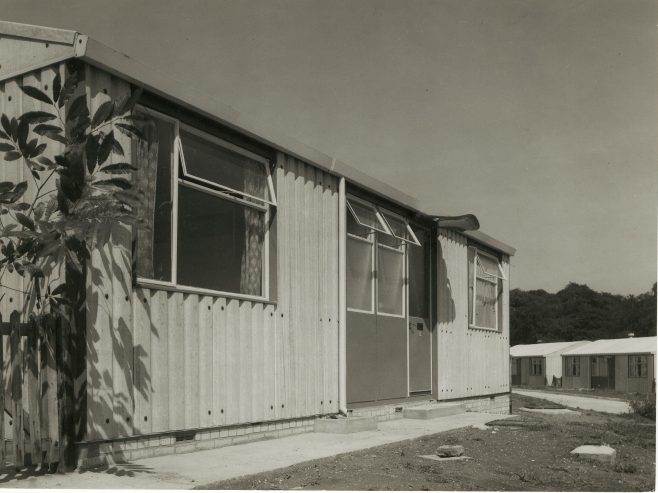 Close up of Arcon MkV prefab with two further prefabs in background