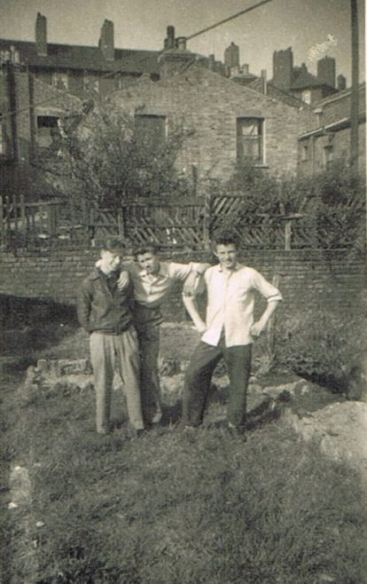 Len's mates in prefab garden, Narford Road London E5